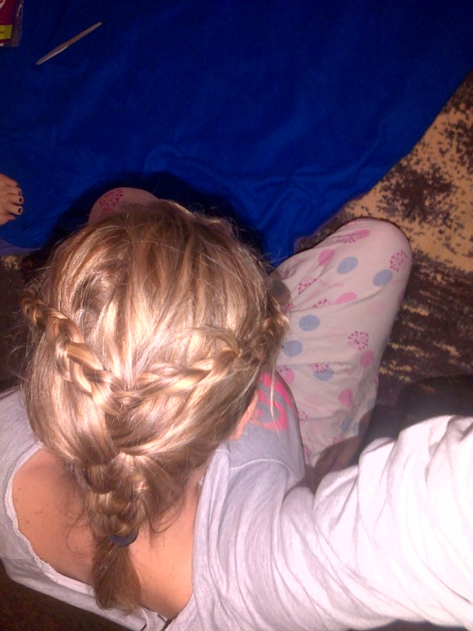 my hair done by my sister before I joined my dad to make soup