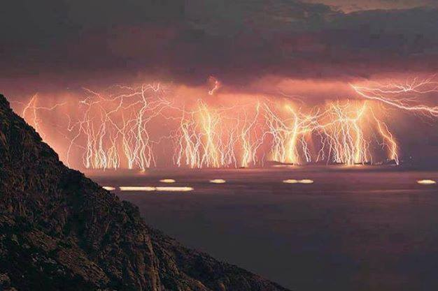70 lightening shots taken at ikaria island during a thunderstorm